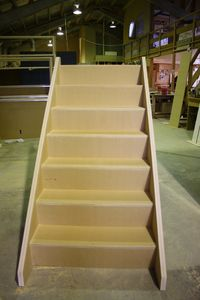 A flight of stairs before installation